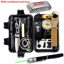 Load image into Gallery viewer, Survival kit set military outdoor travel mini camping tools aid kit emergency multifunct survive Wristband whistle blanket knife
