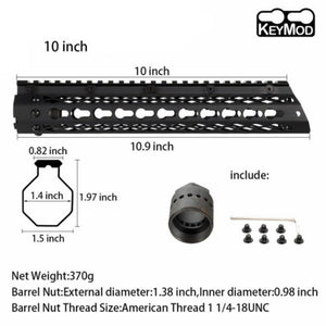 Slim Style 10 inch Steel Free Float Keymod Handguard Picatinny Rail with Steel Barrel Nut