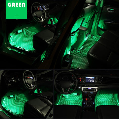 Spruce up the interior of your car and create a personalised atmosphere with these easy to install pack of Car Interior 4 LED light strips. No batteries required, just plug into either your cigarette or USB port.