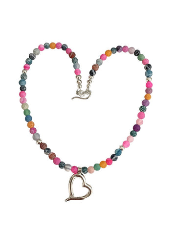 Necklace with Frosted Agate Beads and Silver Heart by Lesley Adolphson Regular £ 45 including p&p.