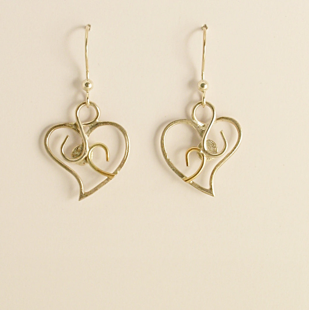 Heart earrings -  Silver and Gold