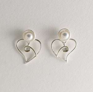 Silver & Gold Heart Pearl stud earrings by Kerry Richardson