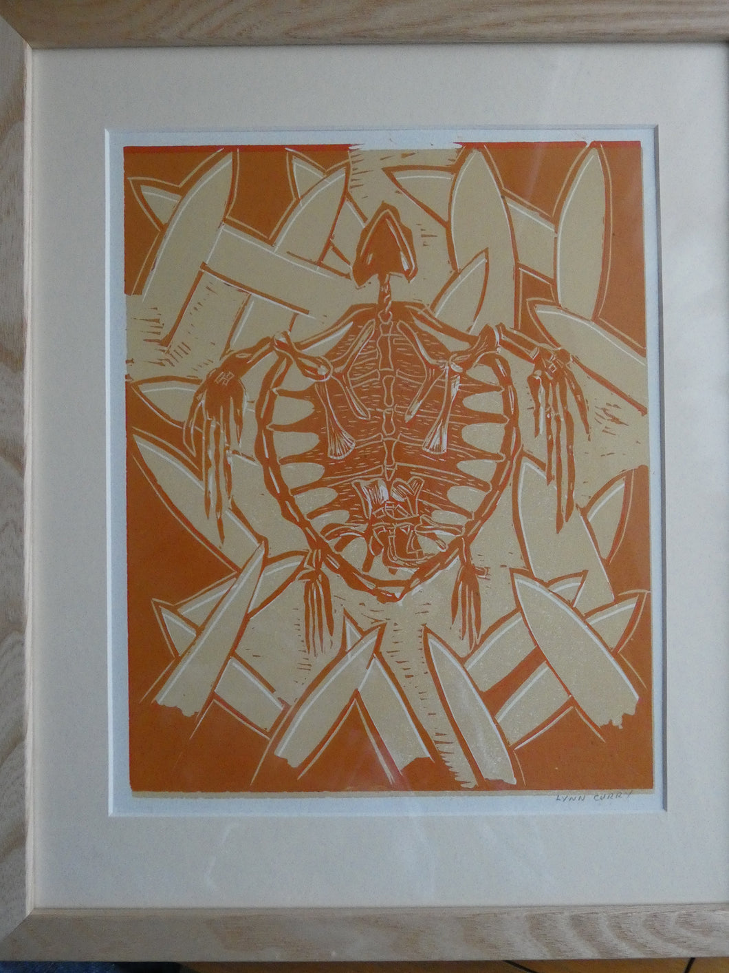 'Fossil Turtle' Lino Print by Lynn Curry