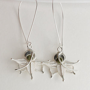 Silver & Gold Flower long drop Earrings by Kerry Richardson