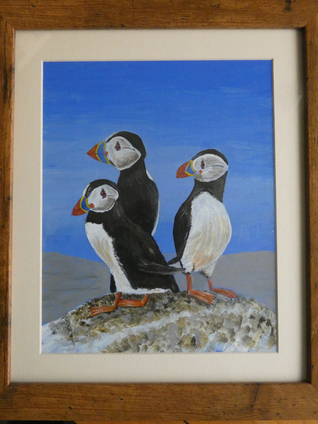 'Puffins' Acrylic Painting by Lynn Curry