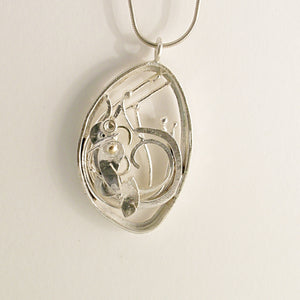 Recycled Leaf Pendant (silver and gold) by Kerry Richardson