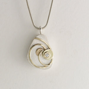Pebble Pendant (Silver, Gold and Diamond) by Kerry Richardson