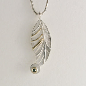 Feather Pendant (Silver, Gold and Blue Diamond) by Kerry Richardson