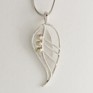 Silver and Gold Feather Pendant by Kerry Richardson