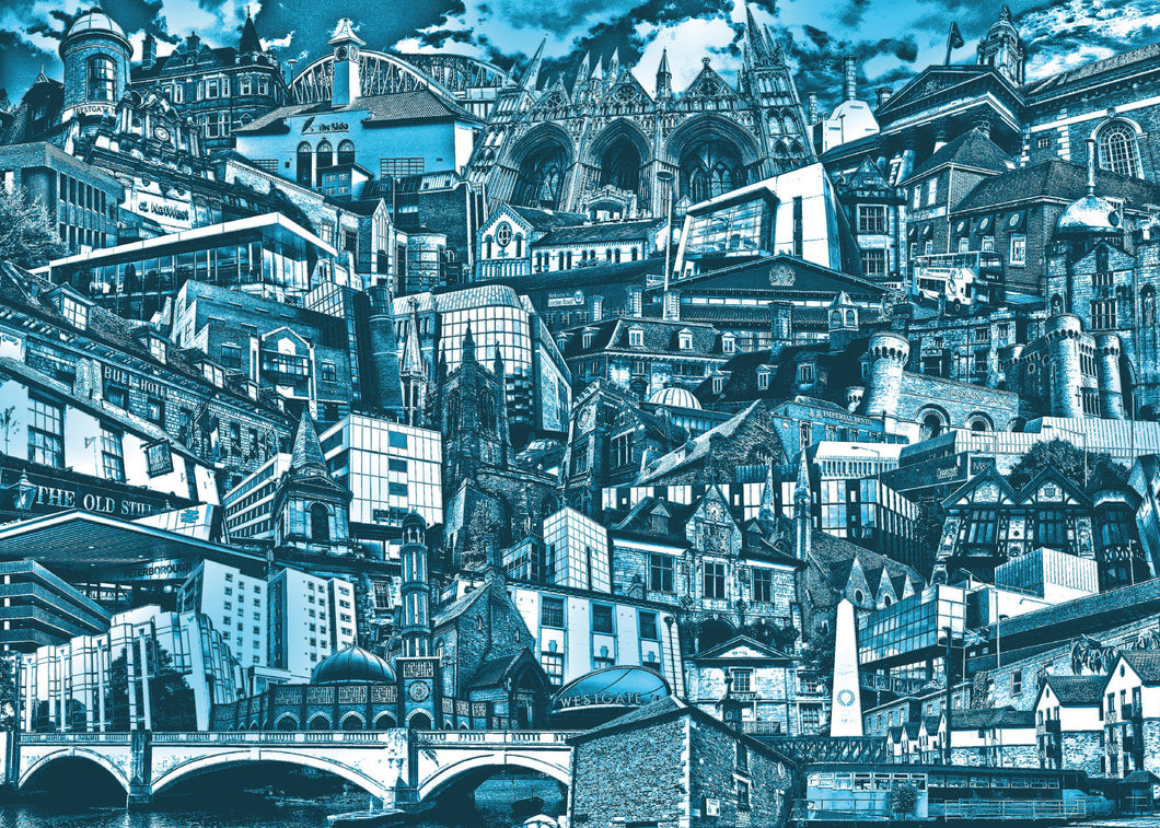 Peterborough City Buildings (Blue) Birthday Card