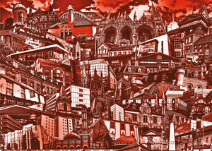 Peterborough City Buildings (Red) Birthday Card