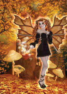Autumn Leaves Fairy Birthday Card