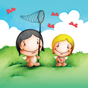 Cupids 'Catching Butteries' - Birthday/Valentine Card