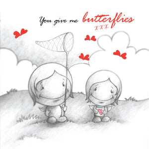 Cupids 'You Give Me Butterflies' - Birthday/Valentine Card