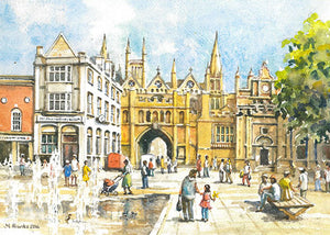Peterborough Cathedral and Archway (Card)