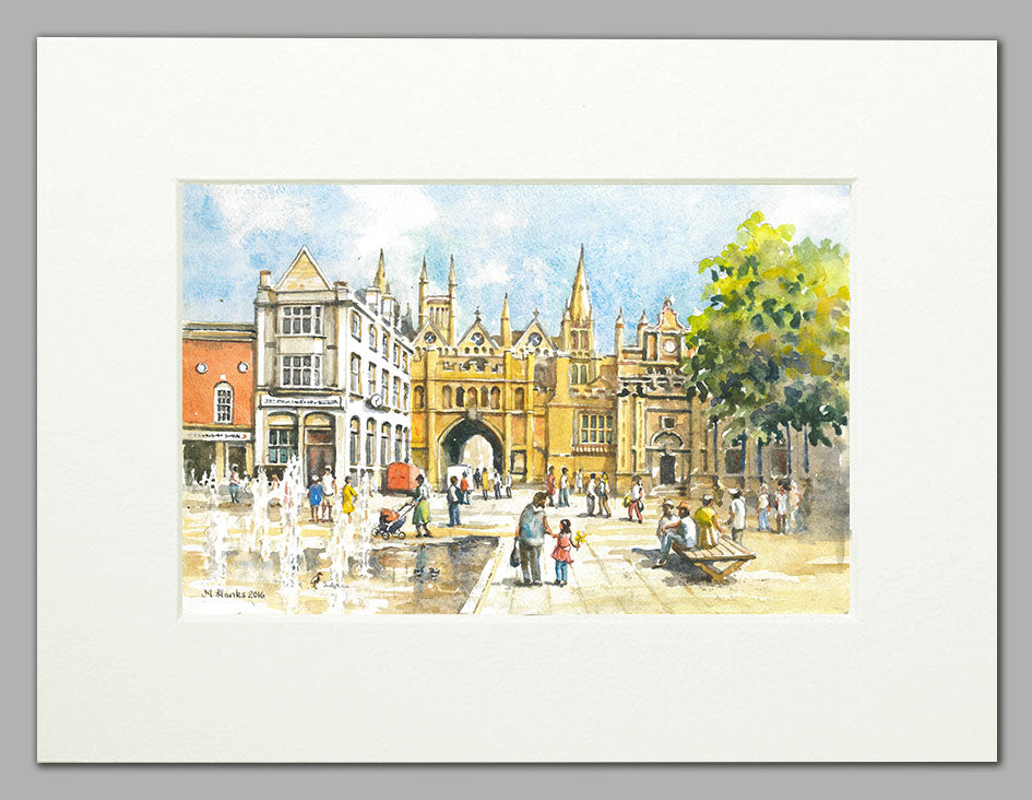 Peterborough Cathedral and Archway - A4 Mounted Print