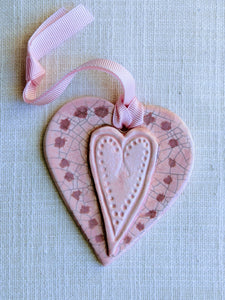 Ceramic Heart - pink crackle (2), by Christine Withall