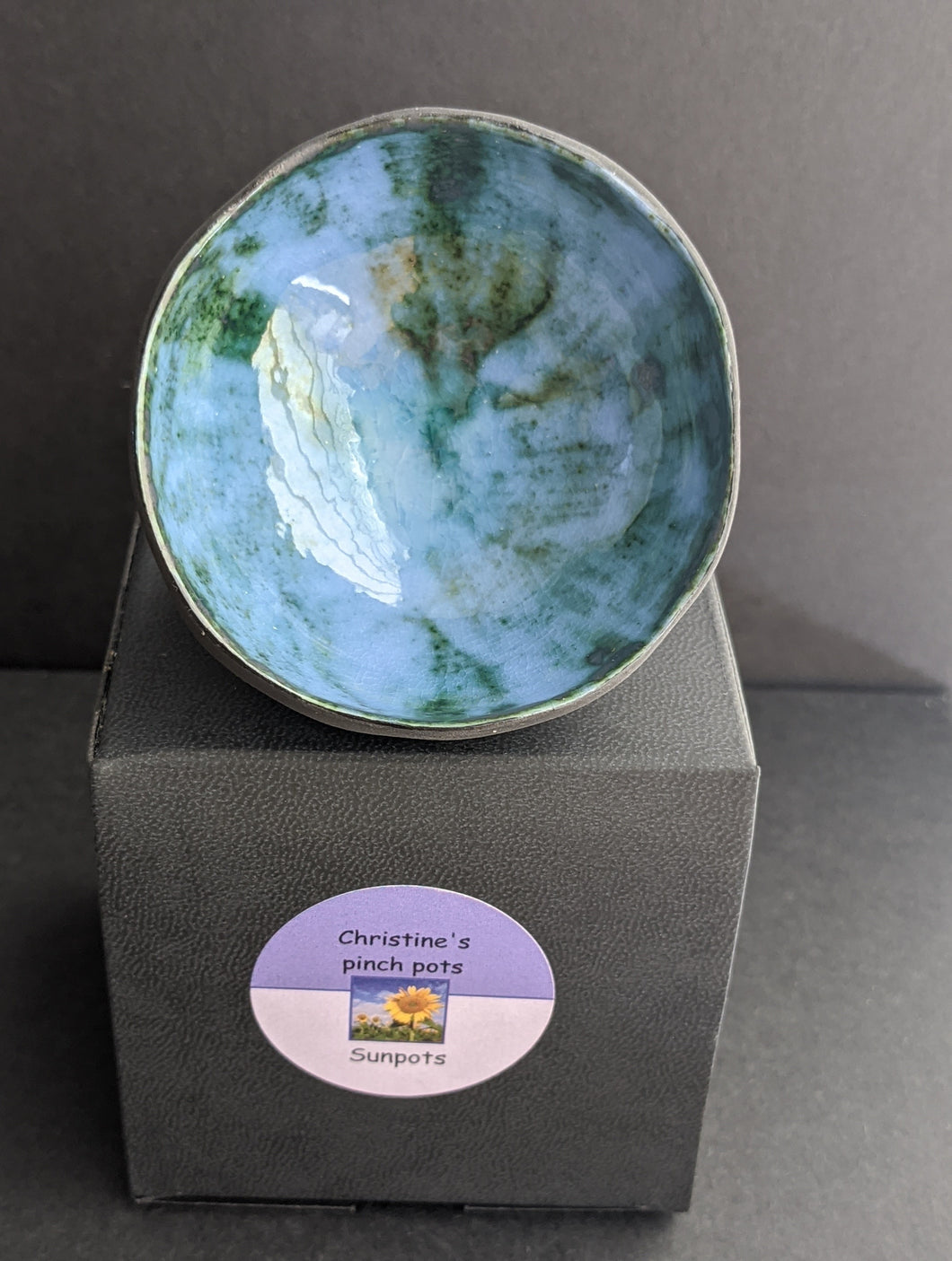 Ceramic Pinch Pot in Blue/Green by Christine Withall