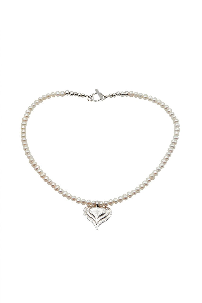 Freshwater pearl necklace with sterling silver heart by Lesley Adolphson