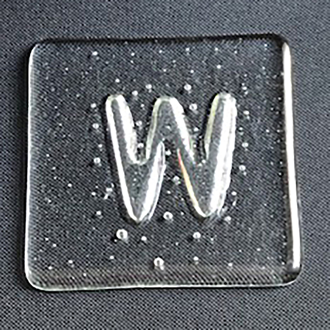 Initial W Glass Coaster - by Brian Whitall, glassmaker
