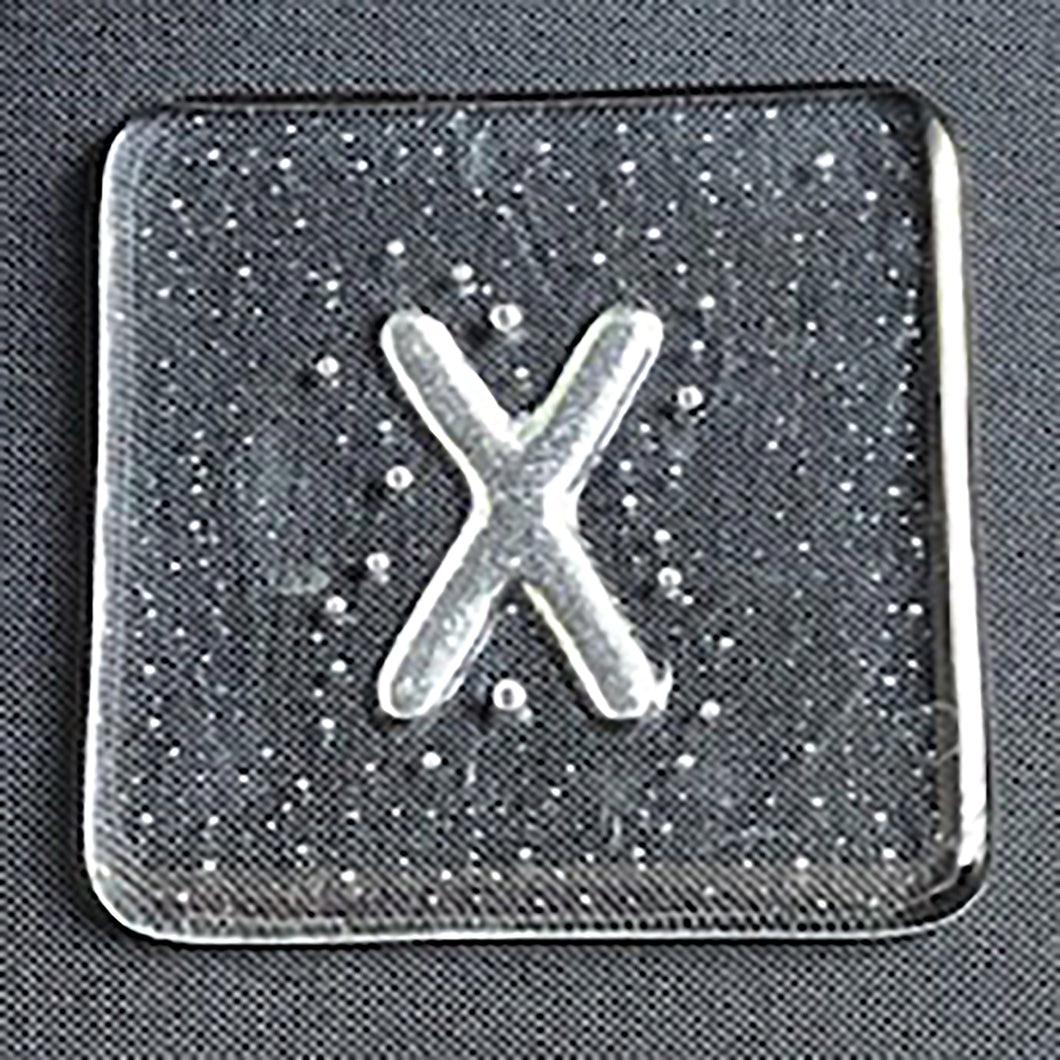 Initial X Glass Coaster - by Brian Whitall, glassmaker