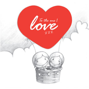 Cupids 'To the One I Love' Hot Air Balloon - Birthday/Valentine Card