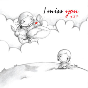 Cupids 'I Miss You' Partner Fly's Away - Birthday/Valentine Card