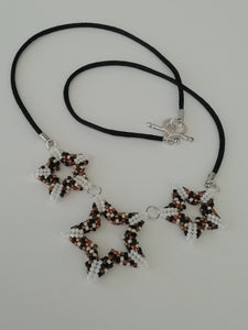 """White Stars"" Peyote beaded  Necklace by Sue Keen"
