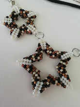 "Load image into Gallery viewer, ""White Stars"" Peyote beaded  Necklace by Sue Keen"