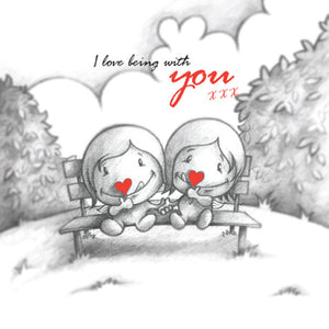 Cupids 'I Love Being With You' Love-heart Lollipops - Birthday/Valentine Card