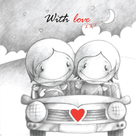 Cupids 'With Love' Couple drive Car away from Storm - Birthday/Valentine Card