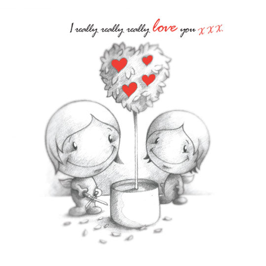 Cupids 'I Really Really Really Love You' Love-hearts Tree - Birthday/Valentine Card