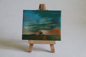 Sunset over the fields mini-canvas painting by Tony Nero