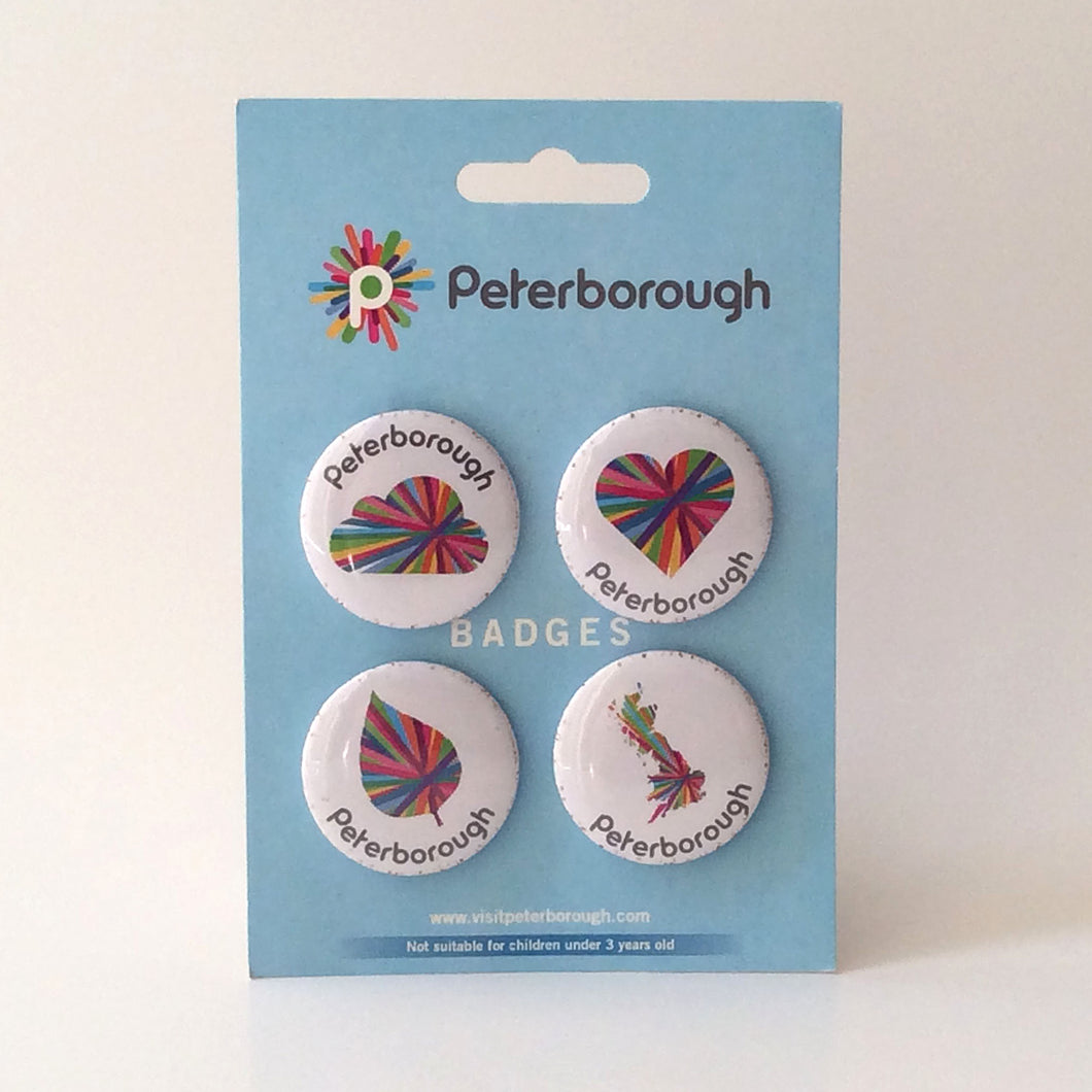 Peterborough memories range:  Modern Pin badges (set of 4)