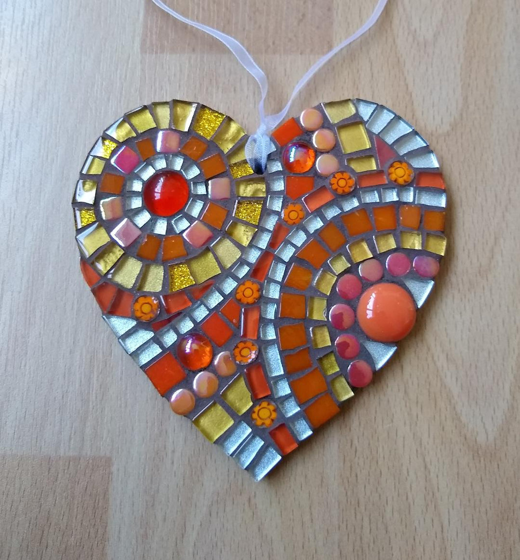 Orange Abstract Mosaic Heart