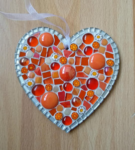 Orange Millefiore Mosaic Heart