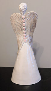 Ceramic Angel with Mother of Pearl Lustre Wings (large) by Christine Withall