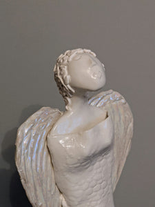 Ceramic Angel with Mother of Pearl Lustred Wings (Large) - (2) by Christine Withall
