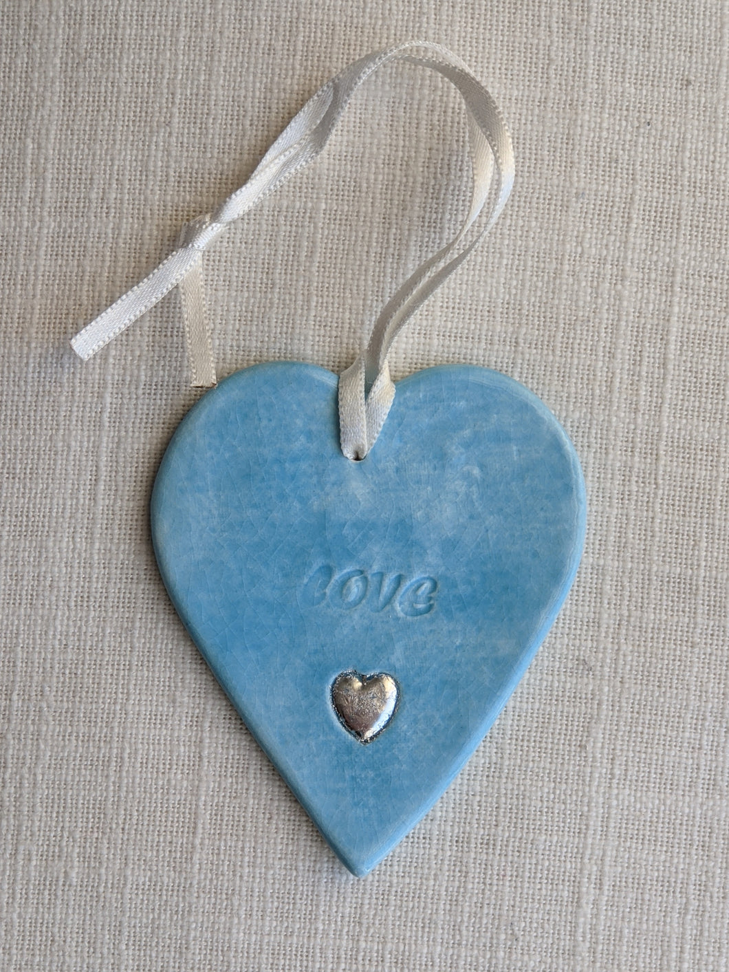 Ceramic heart (blue) by Christine Withall