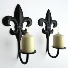 Load image into Gallery viewer, Fleur de lis wall sconce pair (handcrafted)