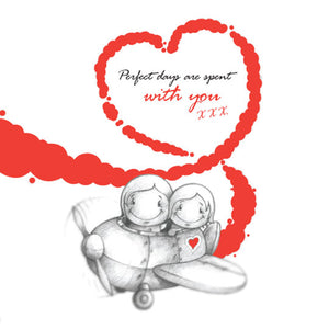 Cupids 'Perfect Days Are Spent With You' Flying Plane - Birthday/Valentine Card