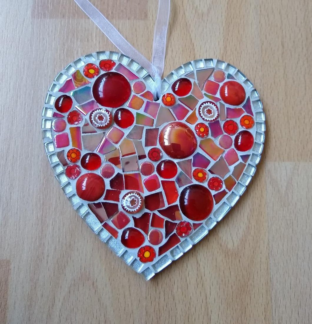 Red Millefiore Mosaic Heart