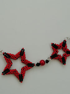 """Red Stars"" Peyote beaded reversible necklace by Sue Keen"