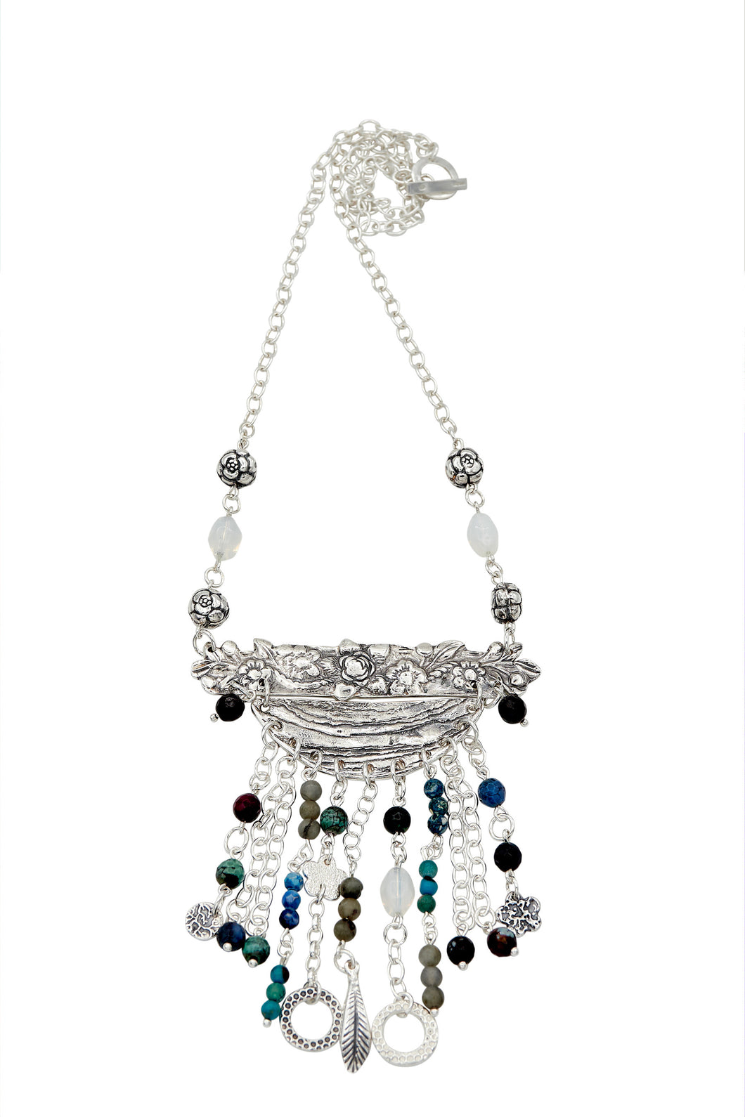 Super Pendant (Silver) with Moonstone, Labradorite and Agate beads
