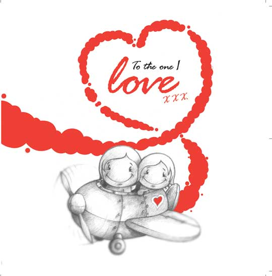 Cupids 'To The One I Love' Couple Fly Plane - Birthday/Valentine's Card