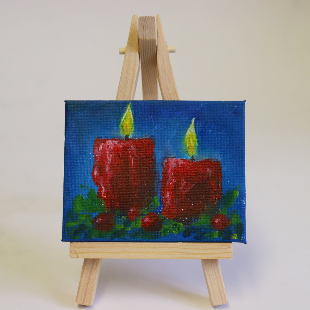'Red Candles' blue background mini-canvas painting by Tony Nero