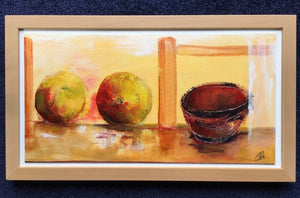 """Two Apples and a Bowl"": Original framed painting Acrylic on canvas board by Prue Pye"