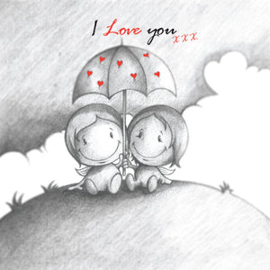 Cupids 'I Love You' sheltering the storm together  - Birthday/Valentine Card