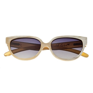 Bertha Taylor Buffalo-Horn Polarized Sunglasses - Cream-Black/Black - BRSBR001Z