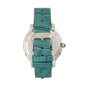 Bertha Cora Crystal-Encrusted Leather-Band Watch - Teal - BTHBR6002